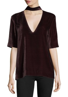 Theory Split-Collar V-Neck Velvet Top