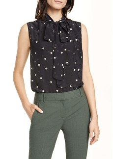 Theory Square Dot Tie Neck Sleeveless Silk Blouse
