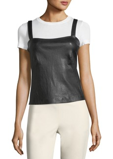 Theory Square-Neck Bristol Leather Perfect Camisole