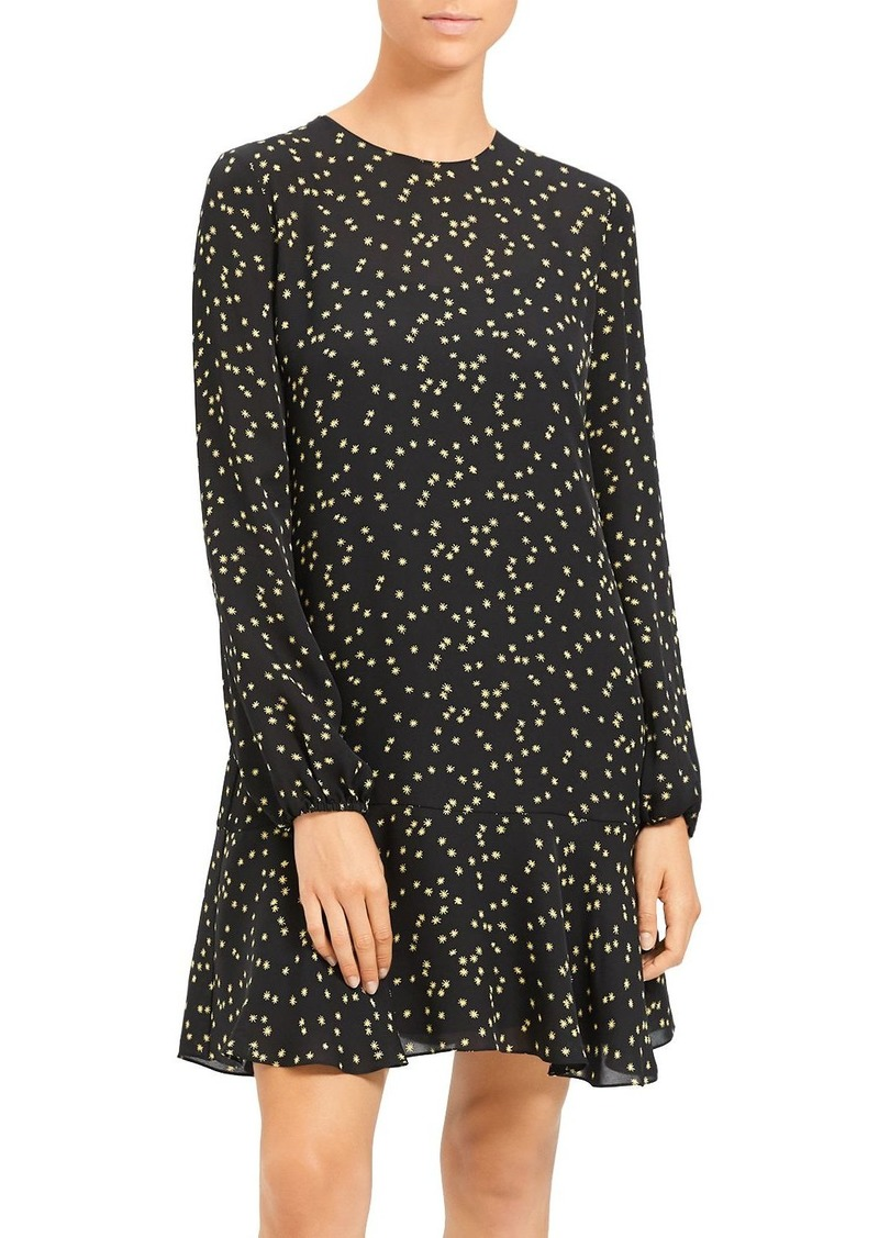 Theory Star-Print Silk-Blend Flared Dress
