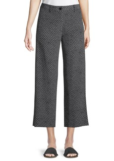 Theory Straight-Leg Fluid Silk Box-Tile Crepe de Chine Cropped Pants