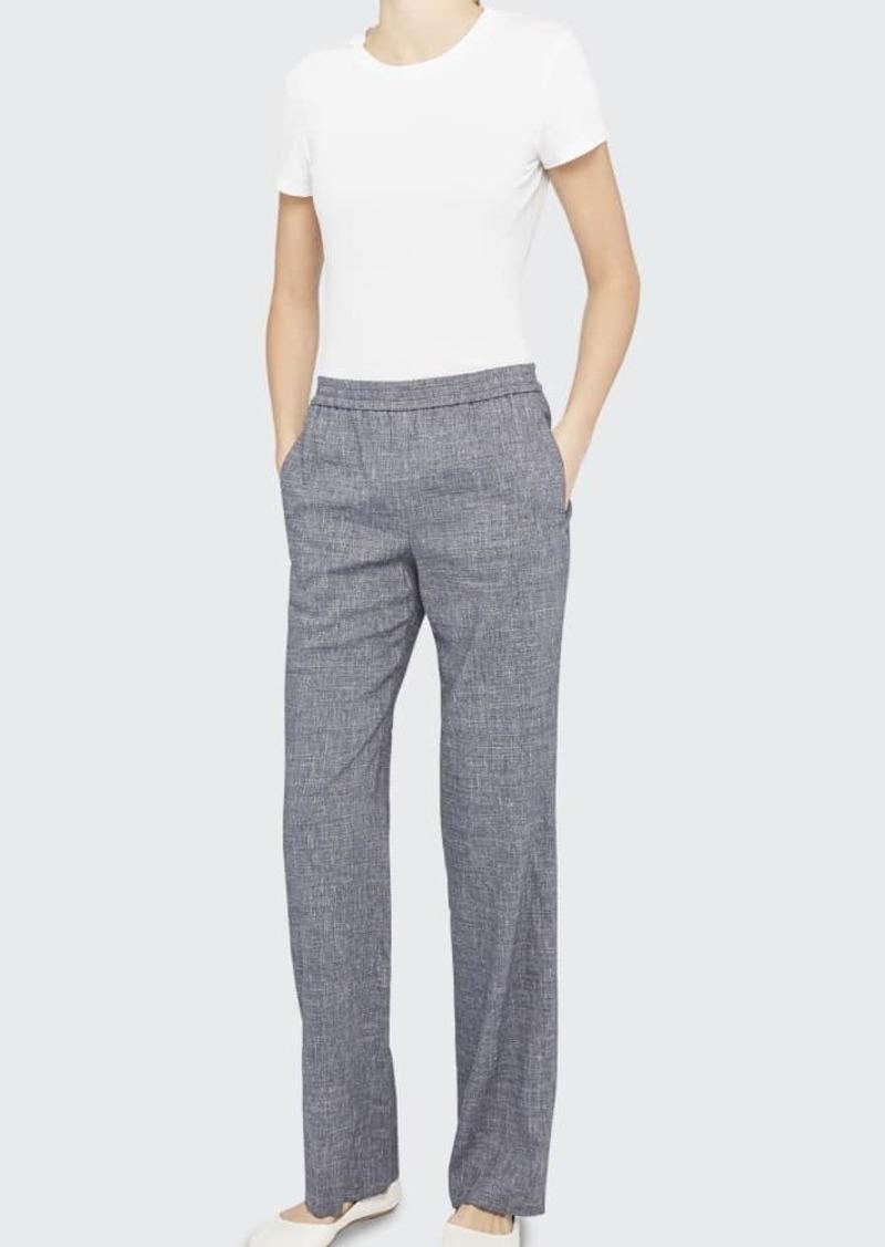 Theory Straight-Leg Linen Pull-On Pants