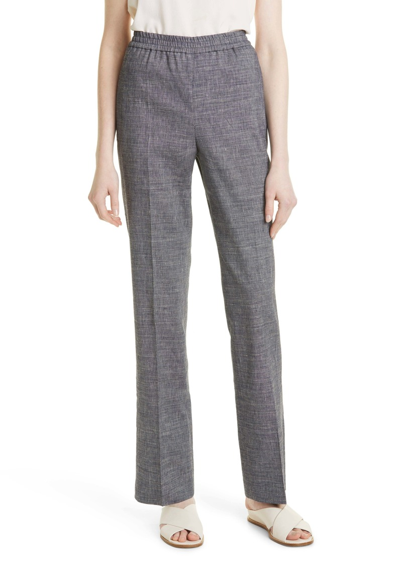 Theory Straight Leg Pull-On Linen Blend Pants