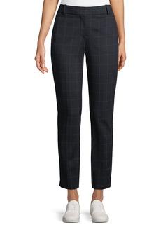 Theory Straight-Leg Windowpane-Check Knit Trousers