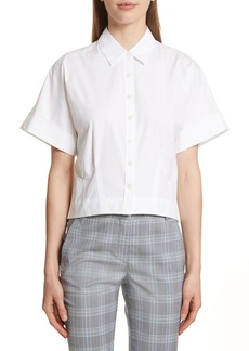 Theory Stretch Cotton Crop Button Down Shirt