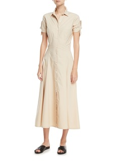 Theory Stretch Cotton Shirt Dress w/ Tie Sleeves