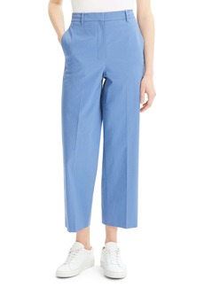 Theory Stretch Cotton Straight Leg Crop Trousers