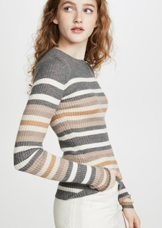 Theory Stripe Crew Cashmere Sweater