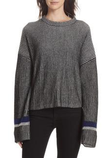 Theory Stripe Mix Cashmere Sweater