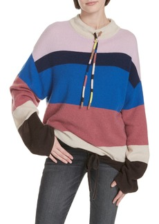 Theory Stripe Mock Neck Cashmere Pullover