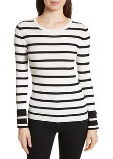 Theory Stripe Rib Crewneck Pullover