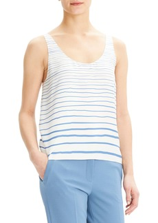 Theory Stripe Scoop Neck Silk Tank Top