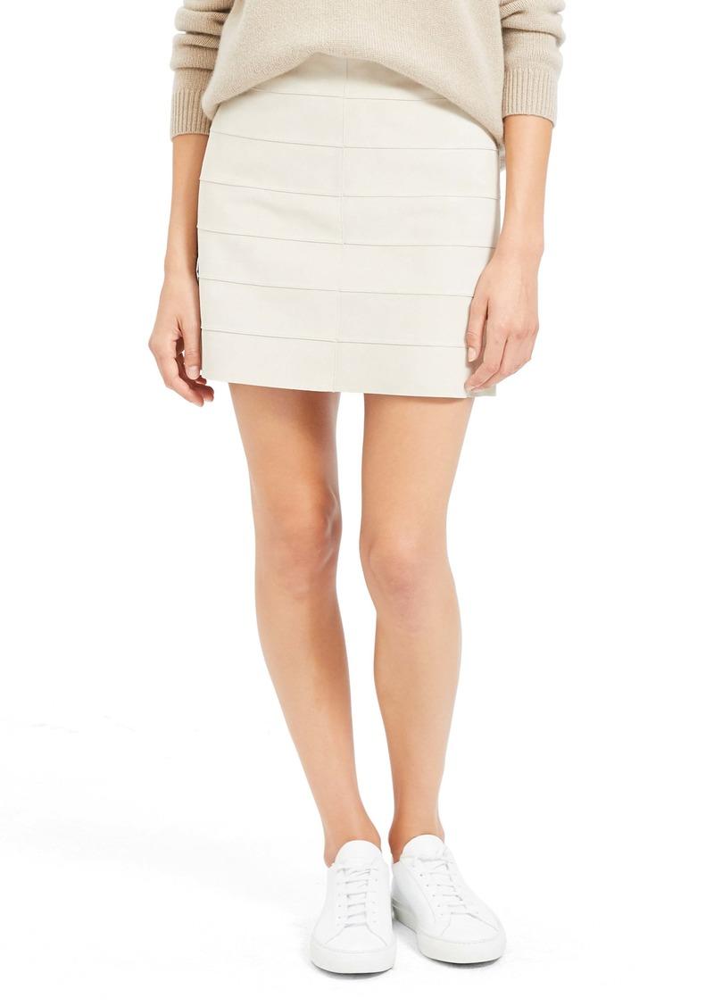Theory Stripe Seam Leather Miniskirt