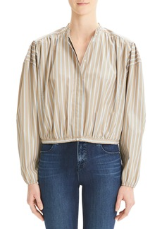 Theory Stripe Shirred Tie Front Cotton Top