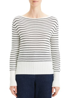 Theory Striped Boat-Neck Pullover Sweater