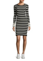 Theory Striped Crewneck Fitted Short Dress