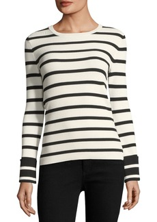 Theory Striped Crewneck Long-Sleeve Top