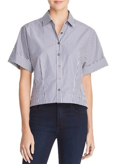 Theory Striped Crop Shirt