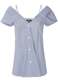 Theory striped off-the-shoulder blouse - Blue