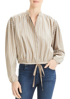 Theory Striped Tie-Front Top