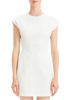 Theory Structured Double-Stretch Fitted Short-Sleeve Dress