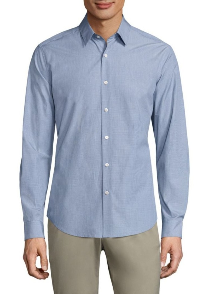 Theory Sylvain Combo Check Regular-Fit Cotton Shirt
