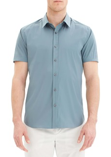 Theory Sylvain Slim Fit Short Sleeve Button-Up Stretch Cotton Sport Shirt