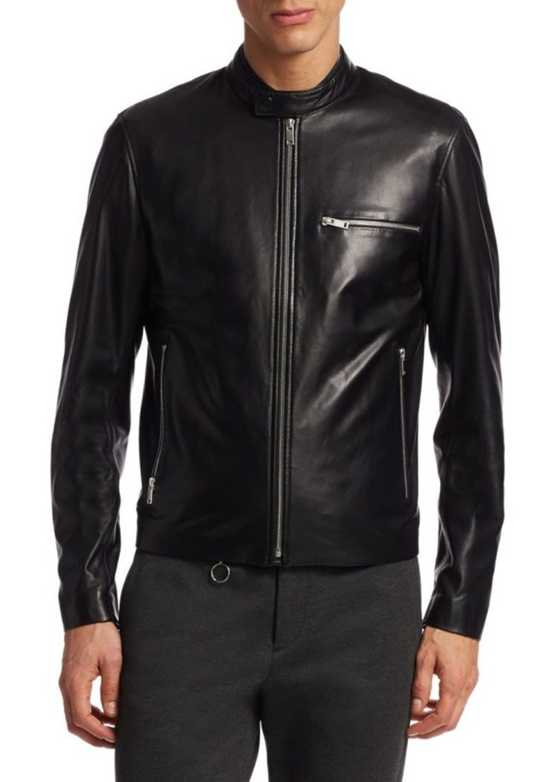 Theory Tab Collar Leather Moto Jacket