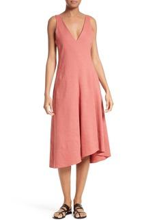 Theory Tadayon Stretch Linen Blend Midi Dress