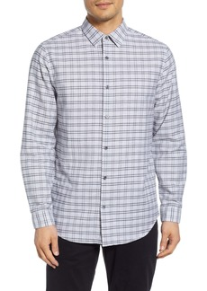 Theory Tait Slim Fit Jaspé Grid Sport Shirt