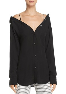 Theory Tamalee Classic Off-the-Shoulder Shirt