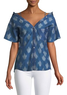 Theory Tamalee Off-the-Shoulder Button-Front Top