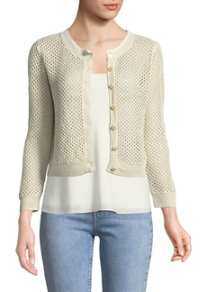 Theory Tamvi New Harbor Open-Weave Linen Cardigan