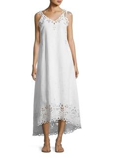 Theory Taytee Sleeveless Embroidered Maxi Dress