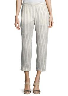 Theory Thorina Narrow Striped Linen Pants