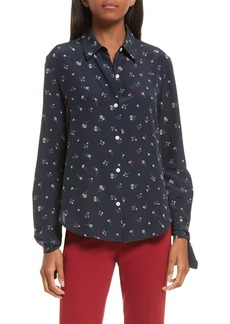 Theory Tie Cuff Floral Print Silk Shirt