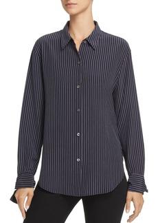 Theory Tie-Cuff Pinstriped Silk Shirt