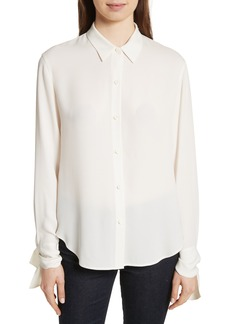 Theory Tie Cuff Silk Georgette Shirt