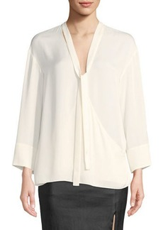 Theory Tie-Neck Long-Sleeve Wrap Top