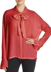 Theory Tie-Neck Silk Blouse