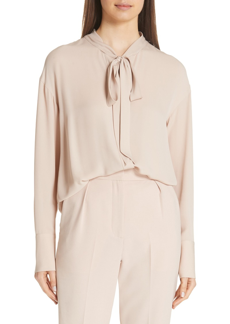 Theory Tie Neck Silk Blouse