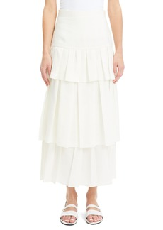 Theory Tiered Ruffle Linen Skirt