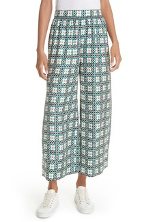 Theory Tile Print Silk Twill Culottes