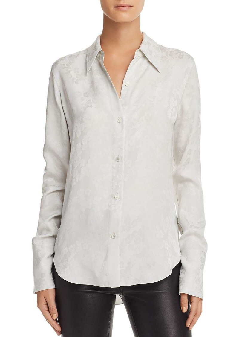 Theory Tonal Floral Button Down Blouse