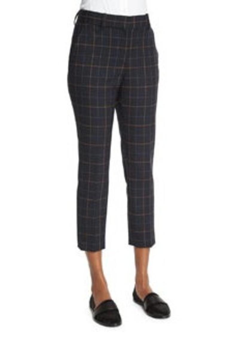 Theory Treeca 2 Tile-Check Cropped Pants