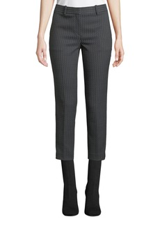 Theory Treeca Jacquard Slim-Fit Cropped Pants