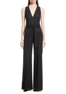 Theory Tuxedo Wool Belted Jumpsuit
