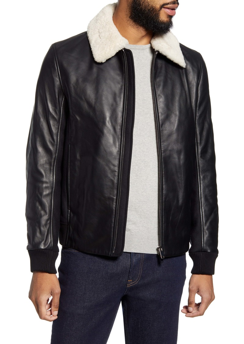 Theory Tyler Lambskin Leather Jacket with Genuine Shearling Trim