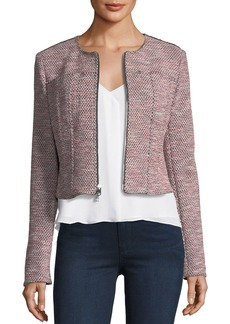 Theory Ualana Z Beacon Tweed Zip-Front Cropped Jacket
