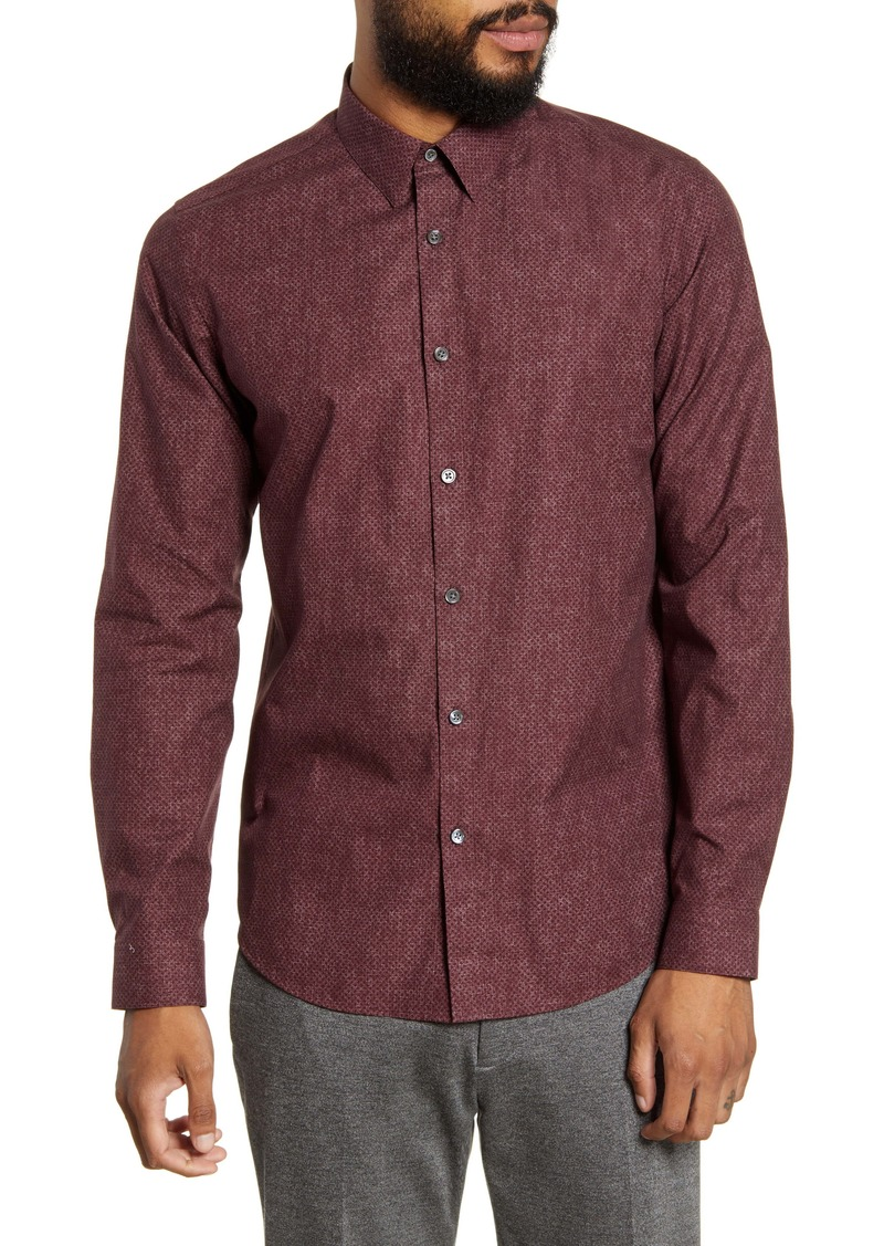 Theory Tone Dot Print Button-Up Shirt